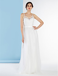 Lanting Bride A-line Wedding Dress-Sweep/Brush Train Spaghetti Straps Lace / Tulle