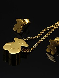 Fashion Gold Silver Stainless Steel Teddy Bear Necklace Earring Jewelry Set(1Set)