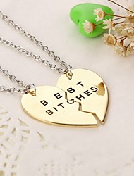 Necklace Pendant Necklaces Jewelry Thank You Daily Casual Valentine Heart Heart Copper 1set Gift