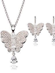 Cristal Legierung Forma de Animal Mariposa Plata 1 Par de Pendientes Collares Para Boda Fiesta 1 Set Regalos de boda