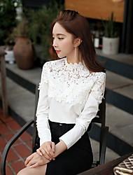 DABUWAWA Women's shirts white lace slim long sleeve blouse