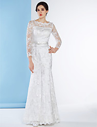 Lanting Bride Fit & Flare Wedding Dress-Ankle-length Scoop Lace