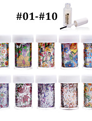 New 100Designs Nail Art Transfer Foil Paper 10pcs + 1pcs Nail Foil Glue (from #01 to #10)