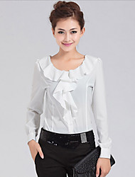 Women's Plus Size / Cute Spring / Summer / Fall Shirt Long Sleeve White / Black Thin