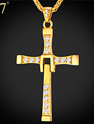 U7® Men's Austrian Rhinestone Stainless Steel/18K Gold Plated Hot Movie Fast & Furious Cross Pendant Necklaces