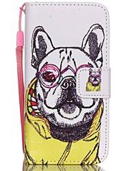 motif hzbyc®shar pei cas PU carte des matériaux de lanière pour iPhone 5c