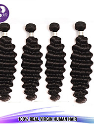 "4pcs/Lot 8""-30"" Brazilian Virgin Hair Color #1B Natural Wave Human Hair Extensions Hair Weaves Bundles Thick"