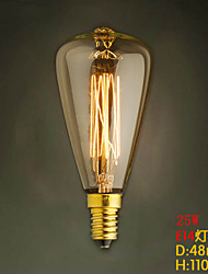 ST48 E14 220V-240V 25W Bulb Edison Screw Caps Small Yellow Retro Chandelier Light Bulb