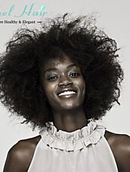 sin procesar corta afro rizado pelucas rizadas brasileño cordón lleno pelucas máquina ninguno cabello humano para las mujeres negras 8 ''