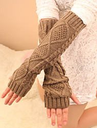 Women's Winter Diamond Jacquard Long Hemp Pattern Knitting Wool Gloves