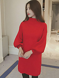 Women's Spring New Turtleneck Loose Lantern Sleeve Pullover Dress