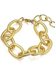 Fashion Generous Women's Gold Plated Ellipse Drape Chain & Link Bracelet(Golden)(1Pc)