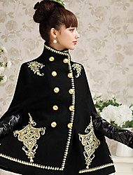 Women's Embroidery Black Fashion Luxury craft embroidered Cloak Coat