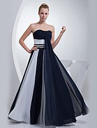 Formal Evening Dress - Ink Blue A-line Sweetheart Floor-length Chiffon
