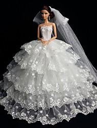 Barbie Doll White Wedding Organza / Lace Dresses Dresses