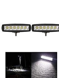 2pcs 6 polegadas 18w 12v cree LED Spot lâmpada worklight carro bar luz de trabalho para passeios de barco / caça / pesca / suv offroad