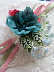 """Fleurs de mariage Forme libre Pivoines Petit bouquet de fleurs au poignet Mariage La Fête / soirée Polyester Satin 3.94""""(Env.10cm)"""