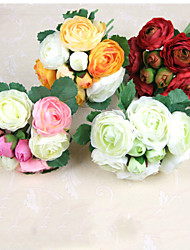 Simulation Flower  Herbaceous Peony Silk Flower Hands Tied Bouquet