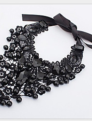 MISSING U Vintage / Party Alloy / Gemstone & Crystal / Fabric Statement Necklace