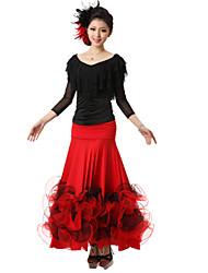 Moderner Tanz-Austattungen(Schwarz / Rot / Königsblau,Kreppe / Seide,Moderner Tanz) - fürDamen Oberteil / Rock