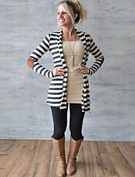 Women's Striped Gray Coats & Jackets , Casual Tailored Collar Long Sleeve