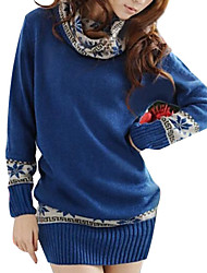 Women's High Collar Snow Pattern Long Slim Pullover Sweaters