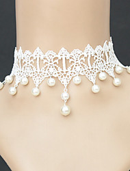 Necklace Choker Necklaces / Gothic Jewelry / Pearl Necklace Jewelry Halloween / Wedding / Party / Daily / Casual Fashion Pearl / Lace