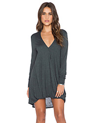 Women's Irregular Loose V-Neck Dress