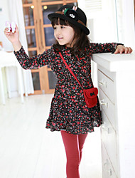 Girl's Spring / Fall Cotton Sequin Long Sleeveed Bag Flower Dress