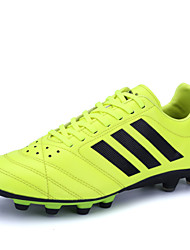 Men's Soccer Shoes PU Leather Spike Shoes Black/Yellow/Purple