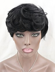 Brazilian Virgin Human Hair None Lace Wigs Short Natural Wave Machine Made Short Bob Wigs for Black Women