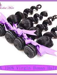 Grade 7A Indian Human Virgin Hair Weaves Loose Wave Natural Black Color 1B# 4pcs Lot Hair Extensions