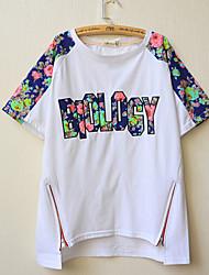 Ronde hals - Katoen / Polyester - Bloem - Vrouwen - T-shirt - Korte mouw