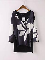 Women's Print Red / Gray Blouse , V Neck Long Sleeve