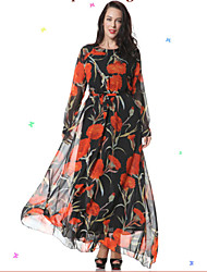 Women's Beach Trumpet/Mermaid Dress,Patchwork Stand Maxi Long Sleeve Orange Spandex Spring