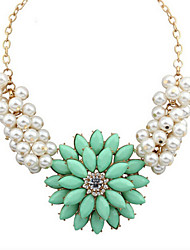 New Arrival Fashion Jewelry Fresh Rhinestone Flower Pearl Necklace