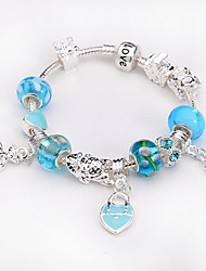 Women jewelry 925 Sterling Silver bracelet Murano Glass Crystal European Beads Strand heart charm Beads bracelets BLH033