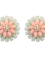Stud Earrings Resin Alloy Fashion Flower Pink Jewelry Wedding Party Daily Casual Sports 2pcs