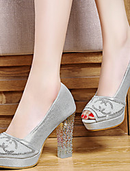 Women's Shoes Synthetic / Tulle Chunky Heel Heels / Peep Toe Sandals Party & Evening / Dress / Casual Silver / Gold
