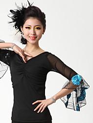 Dança de Salão Blusas Mulheres Actuação Renda Fibra de Leite Pano 1 Peça Topo 52  53  54  55
