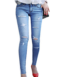 Women's Concealed Was Tattered Jeans