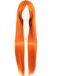 Popular Cartoon Wig 80cm High Temperature Orange Silk Long Synthetic Wigs