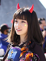Perucas de Cosplay Fantasias Alice Preto Médio Anime Perucas de Cosplay 50 CM Fibra Resistente ao Calor Masculino / Feminino