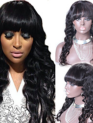 Virgin Peruvian Full Lace Wig With Bangs Glueless 20inch Human Hair Wavy Full Lace Human Hair Wigs With Full Bangs
