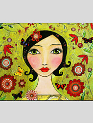 Stretched Canvas Oil Painting Art Pretty Mother Style Children Painting 60*90CM