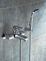 Waschbecken Wasserhahn - Messing - Zeitgenössisch - Handdusche inklusive - Chrom