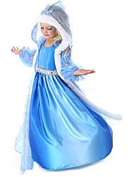 Cosplay Costumes Princess / Fairytale Movie Cosplay Blue Solid Coat / Dress / Gloves Halloween / Christmas / New Year Kid Chiffon