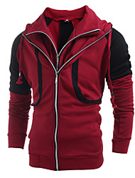 Men's Fashion Patchwork Double Zipper Hooded Cardigan Sweatshirt, Cotton/Polyester/Zipper