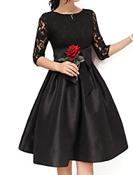 Women's Party/Cocktail / Plus Size Sophisticated Lace / Skater Dress,Solid Round Neck Above Knee ½ Length Sleeve Red / BlackCotton /