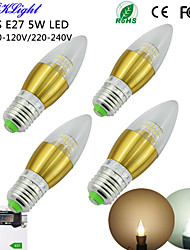 YouOKLight® 4PCS E27 5W 450lm 50xSMD3014 Warm White/White Light High quality/Luxury LED Candle Lamp(AC110-120V/220-240V)